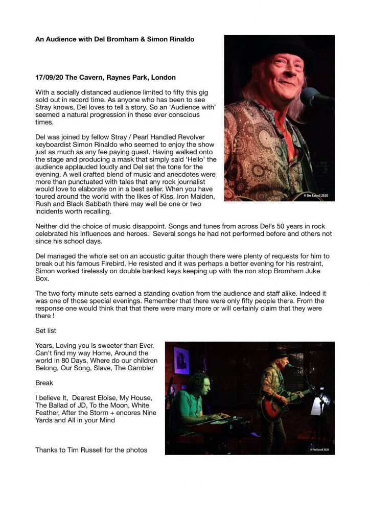 Review from An Audience with Del Bromham last week